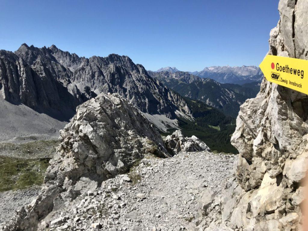 Goetheweg Innsbruck wandern  - aussichtsreich auf rund 2000 Metern