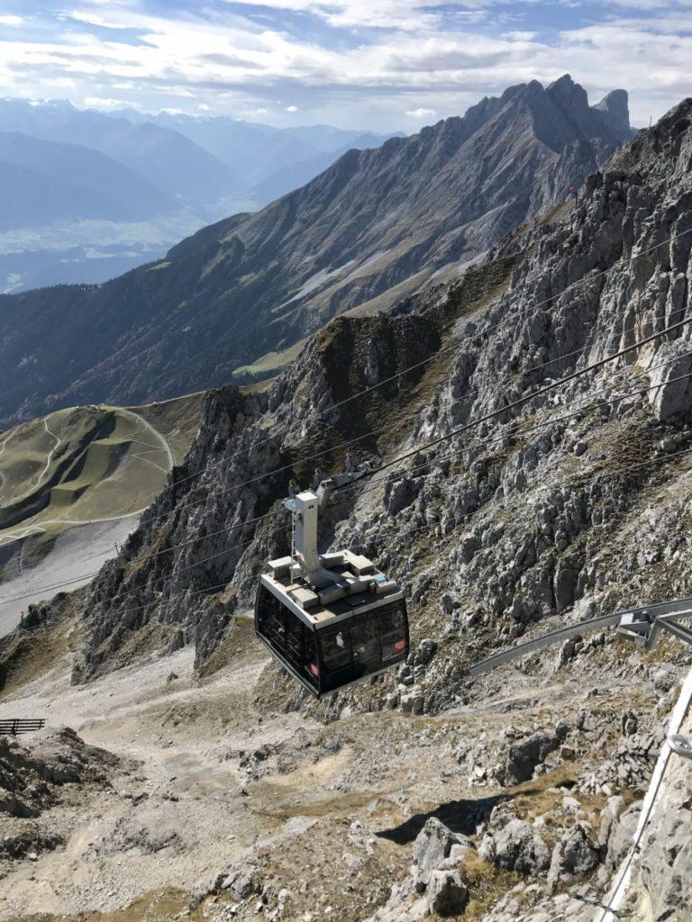 Hafelekarspitze Seilbahn bei der Bergstation