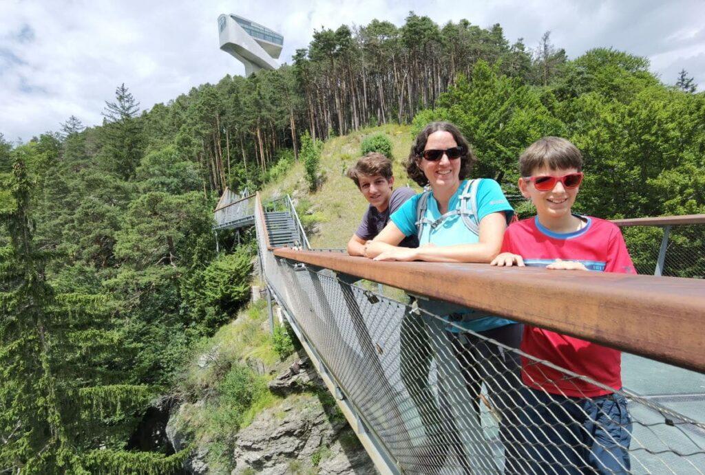 Drachenfelsen Innsbruck Ausblick zur Bergisel Schanze