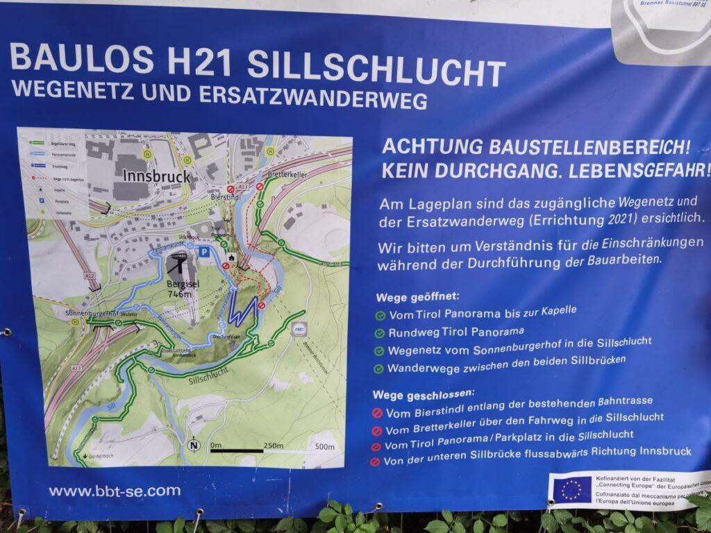 Sillschlucht Umleitung aufgrund der Arbeiten am Brenner Basistunnel